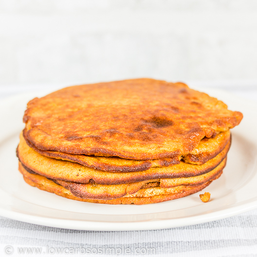 Fluffy 5-Ingredient Pumpkin Pancakes; Nice Stack of Fluffy Pancakes! | Low-Carb, So Simple