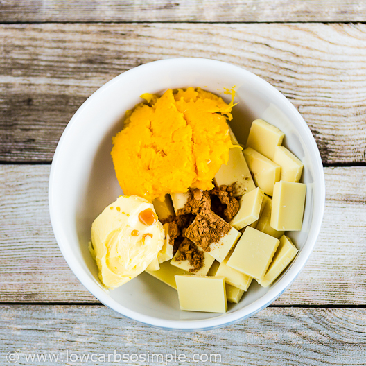 Pumpkin White Chocolate Truffles; Ingredients in a Microwave-Safe Bowl | Low-Carb, So Simple