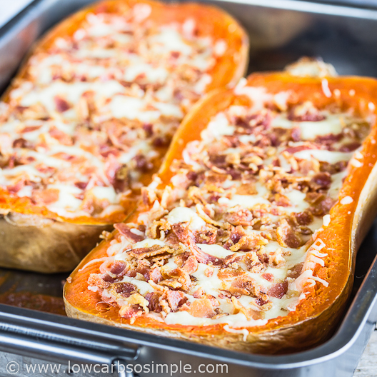 Cheesy Stuffed Butternut Squash with Bacon and Caramelized Red Onion | Low-Carb, So Simple