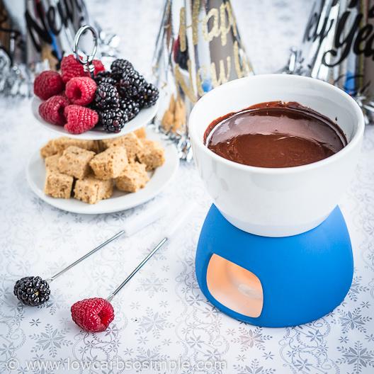 Bourbon Dark Chocolate Fondue; Happy New Year!   Low-Carb, So Simple