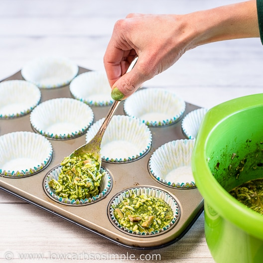 Spooning into Muffin Cups | Low-Carb, So Simple