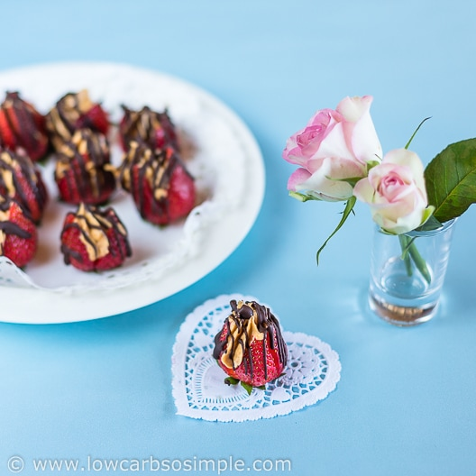 Peanut Butter Stuffed Chocolate Drizzled Strawberries | Low-Carb, So Simple