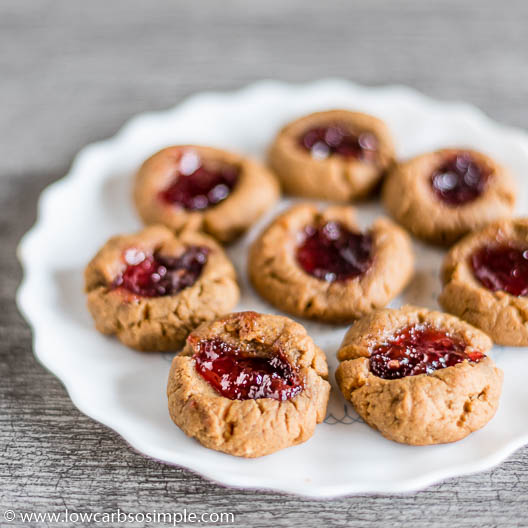 Flourless Sugar-Free Nut Butter and Jam Thumbprint Cookies   Low-Carb, So Simple