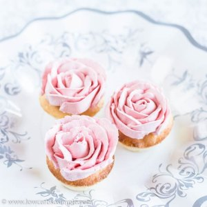 Surprisingly Succulent Vanilla Keto Muffins with Pink Buttercrean Roses | Low-Carb, So Simple