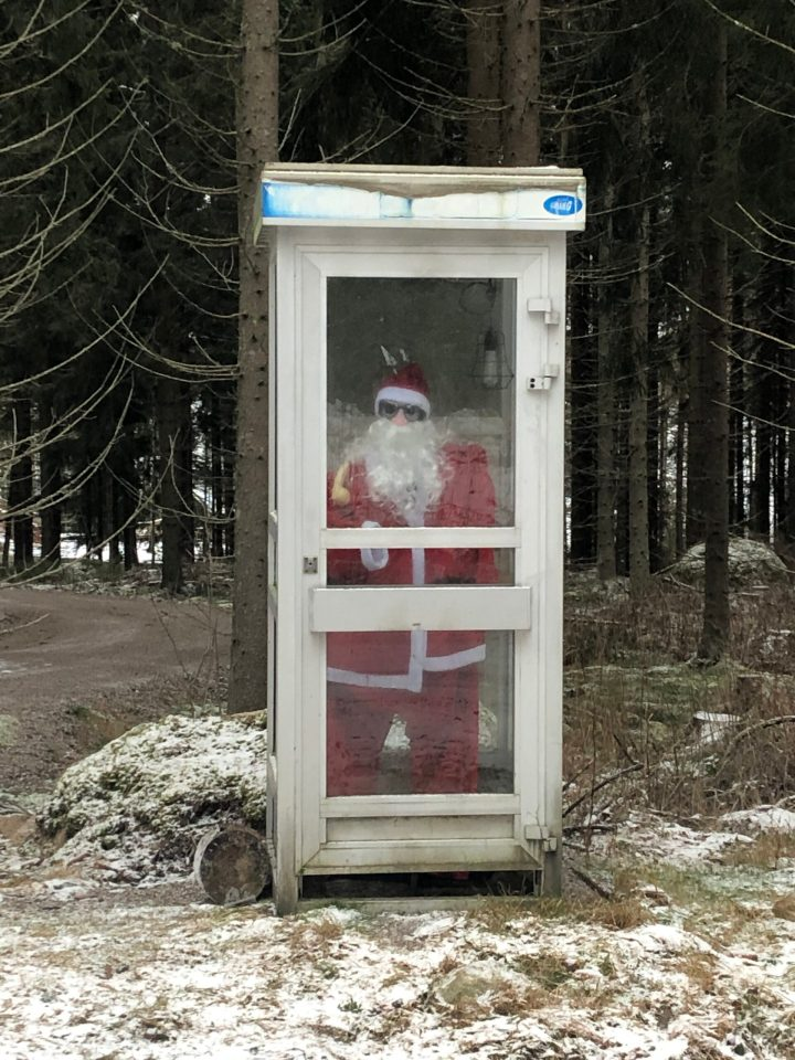 Santa in a phone booth