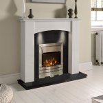Gallery White Marble Black Granite Electric Fireplace Suite Eko Fire