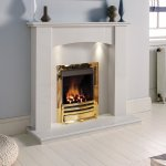The Gallery White Marble Gas Fireplace Suite Low Cost Fireplaces