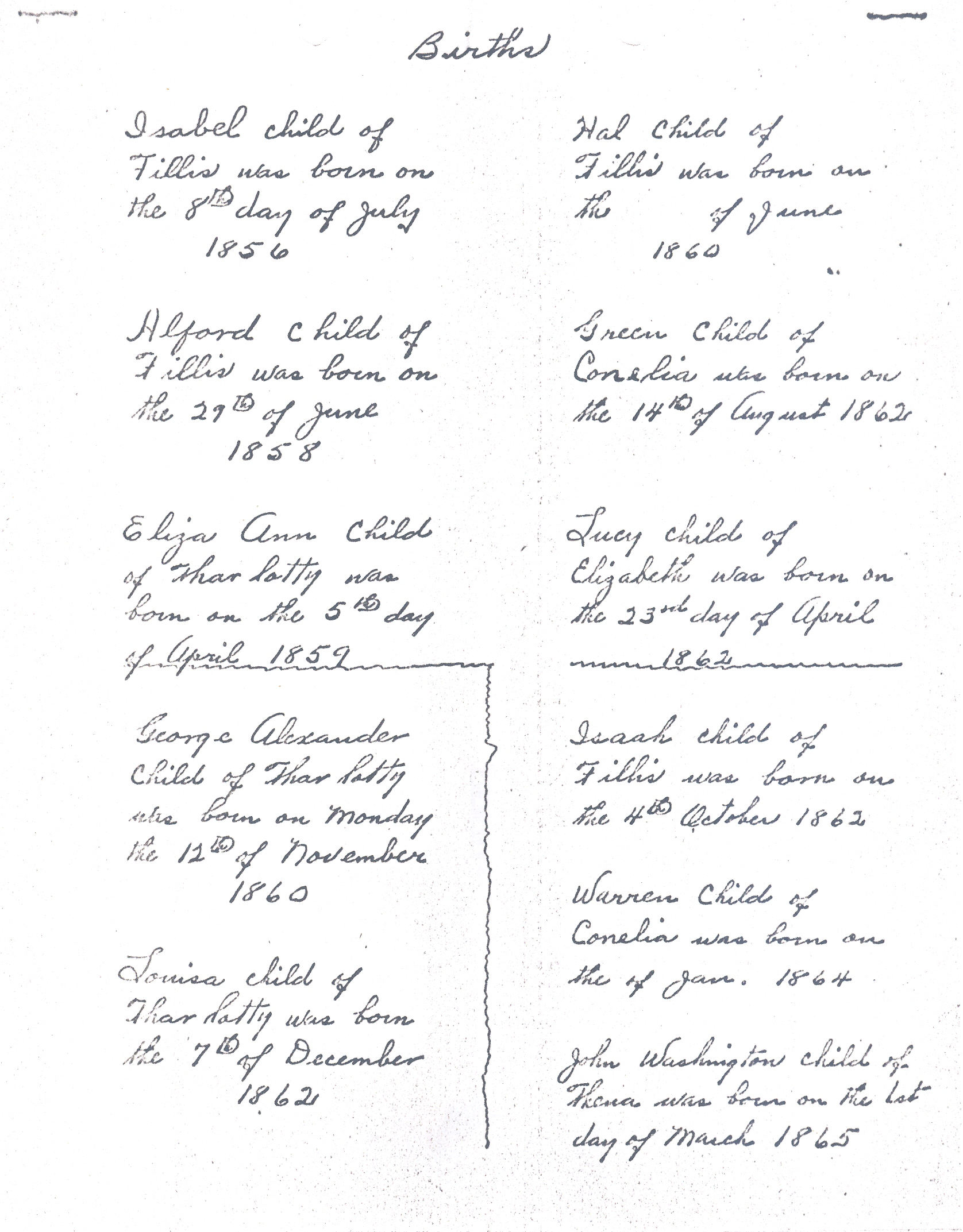 Birth records of african american cunningham family oglethorpe charlotty or charlotte henrietta and elizabeth are sisters the daughter of a woman named louiza and all are mentioned in the will of barbara williams aiddatafo Images