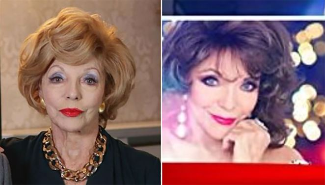 "Joan Collins in different wigsWow, that wig is very ""Villainous mother-in-law in a François Ozon drama"""