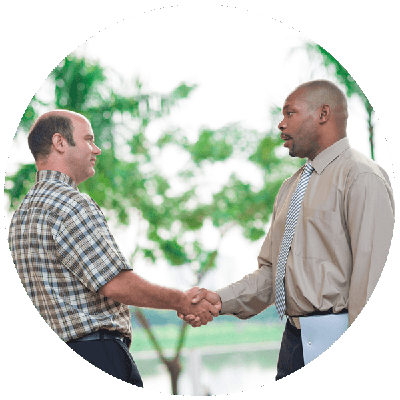 client and irrigation contractor in Sacramento shake hands
