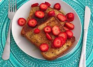 French Toast with Sliced Strawberries