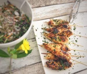 Maple Syrup and Tamari Sauce Chicken Skewers