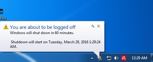 Shutdown notification on the taskbar