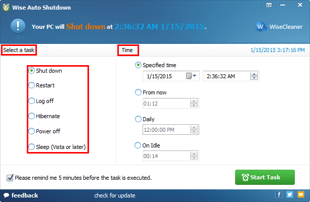 Select a task and set the time