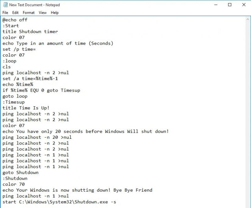 Enter the script on Notepad