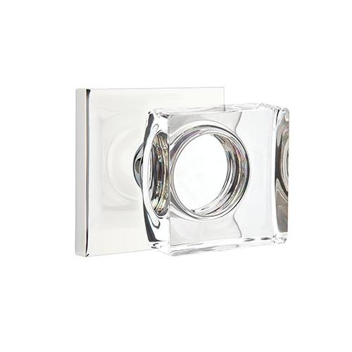 Emtek Modern Square Crystal Door Knob Set