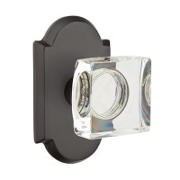Emtek Bronze Modern Square Crystal Door Knob Set | Low ...