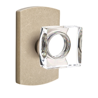 Emtek Bronze Modern Square Crystal Door Knob Set