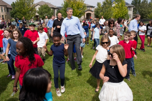 "Education Secretary Arne Duncan dances the ""Cupid Shuffle"" with students at Lowry Elementary School in Denver, Colo. Source: whitehouse.gov"