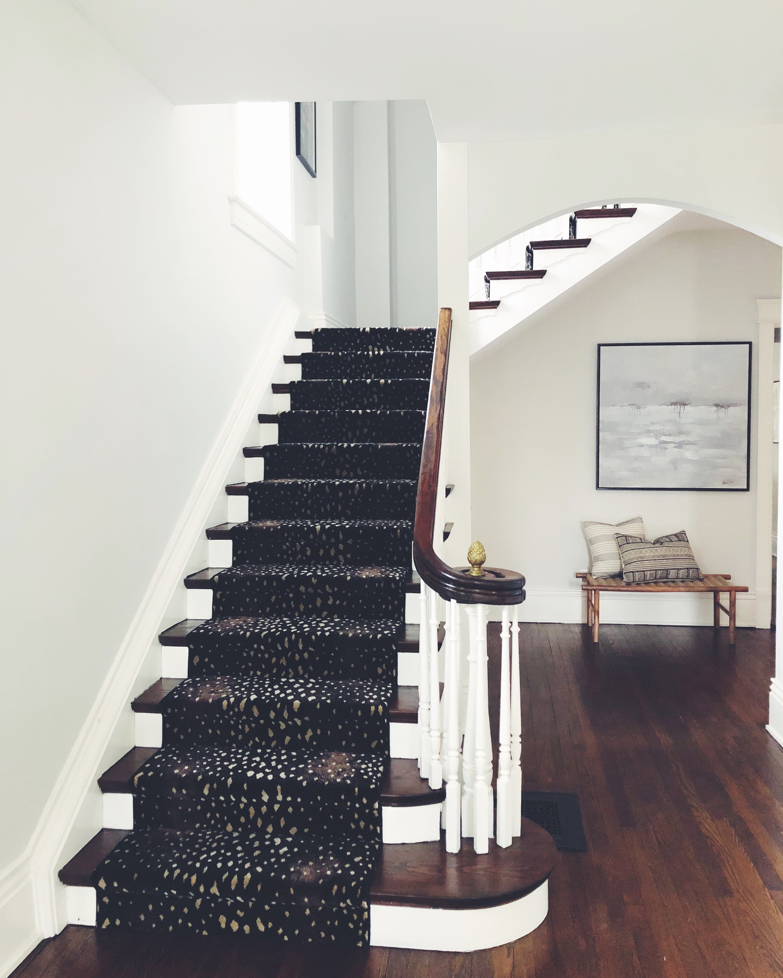 Our Stair Runner All Your Questions Answered Lows To Luxe | Carpet Rugs For Stairs | Navy Blue | Beige | Tartan | Wool | Diamond Pattern