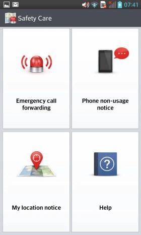 LG Optimus G Safety Care Interface