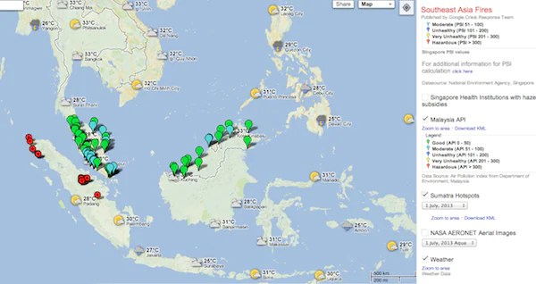 SEA Haze Crisis Map Google