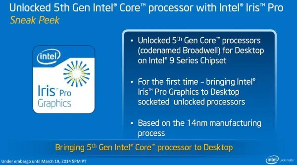 Intel Iris Pro Graphics, on 5th Generation Intel Core Processors a.k.a Broadwell