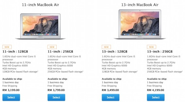 MacBook Air Malaysia 2015 Price