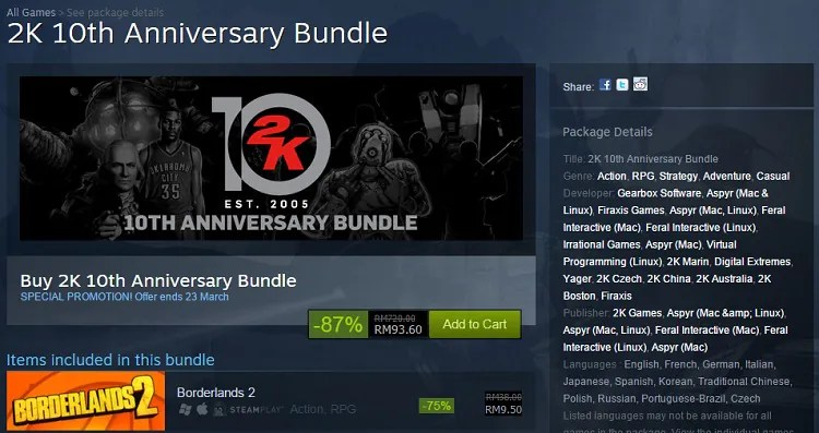 Steam 2K 10th Anniversary Offers The Usual Ridiculous