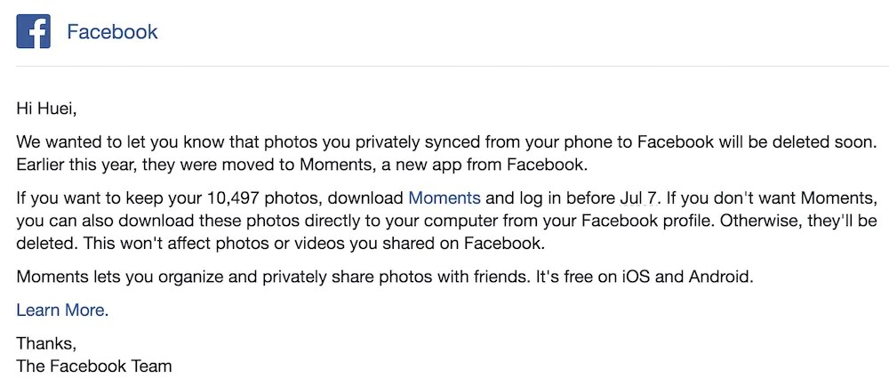 Facebook to removed synced photos unless you use its moments app