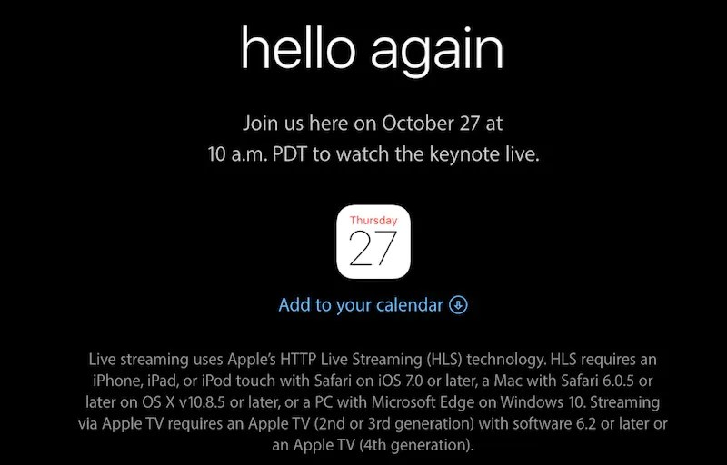 Apple 27 October 2016 Event Live Stream