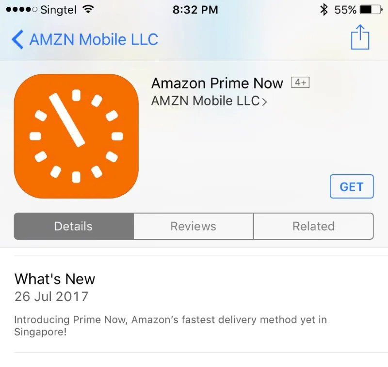 Amazon Prime Now Singapore for iOS