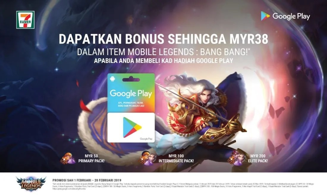 Get Free Mobile Legends: Bang Bang Packs with Google Play