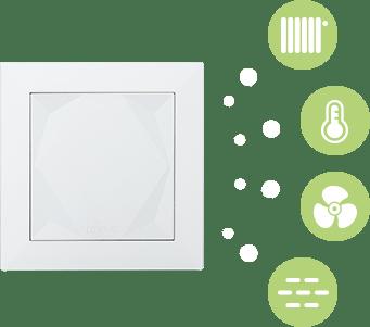 Infografika senzorů v chytrém tlačítku Loxone Touch