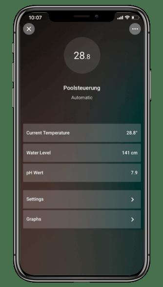 ovládání bazénu v aplikaci