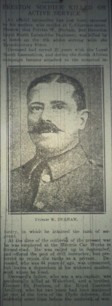 4404 PTE WILLIAM DURHAM 1ST BN
