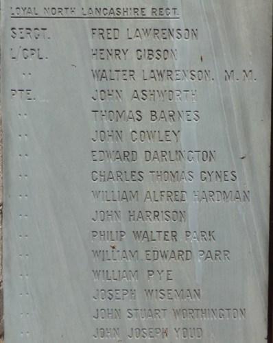 Penwortham memorial panel