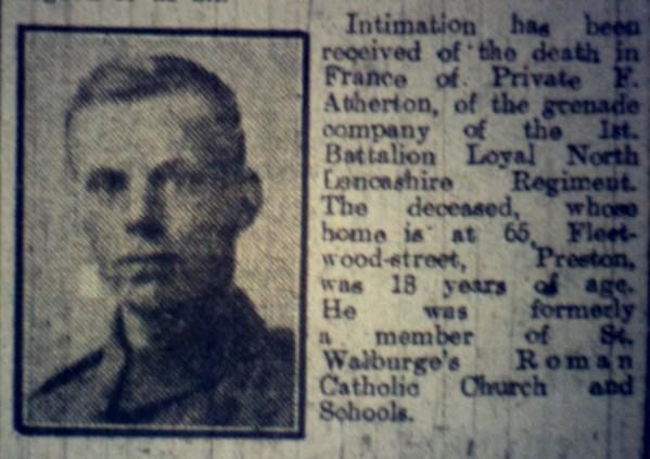 15619 Private Francis Collins Atherton 1st Battalion