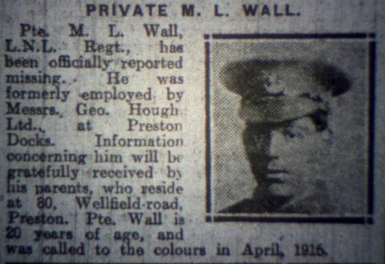 23994 Private Martin Leo Wall 1st Battalion