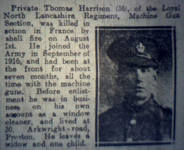 21706 Private Thomas Harrison 8th Battalion