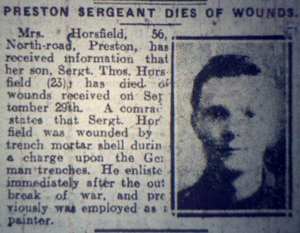 3396 Lance Sergeant Thomas Horsfield 1st4th Battalion 2