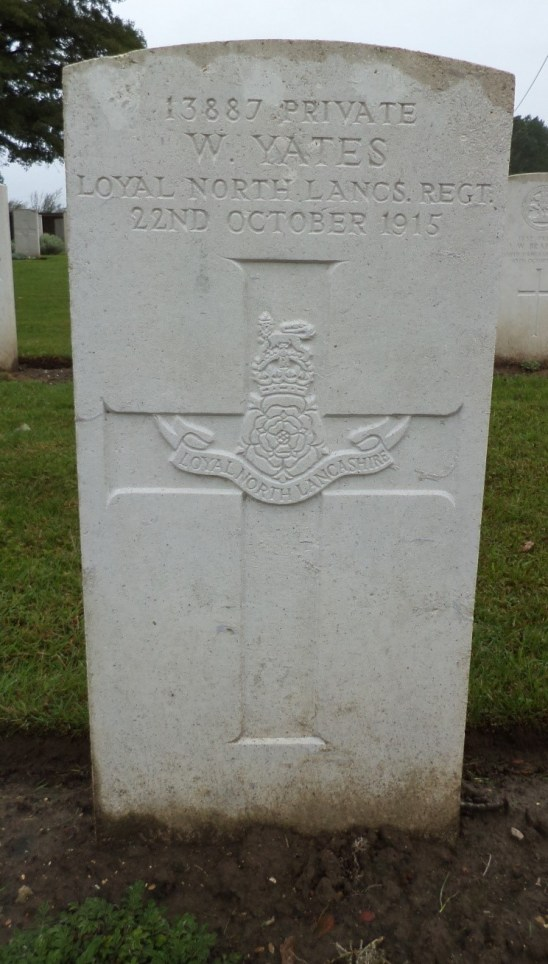 "13887 Private William Yates ""B"" Coy 7th Battalion cwgc"