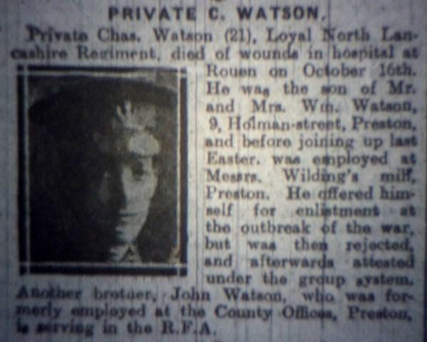 23963 Private Charles Watson 8th Battalion