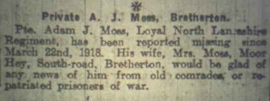 24615 Private Adam Johnson Moss 10th Battalion 2