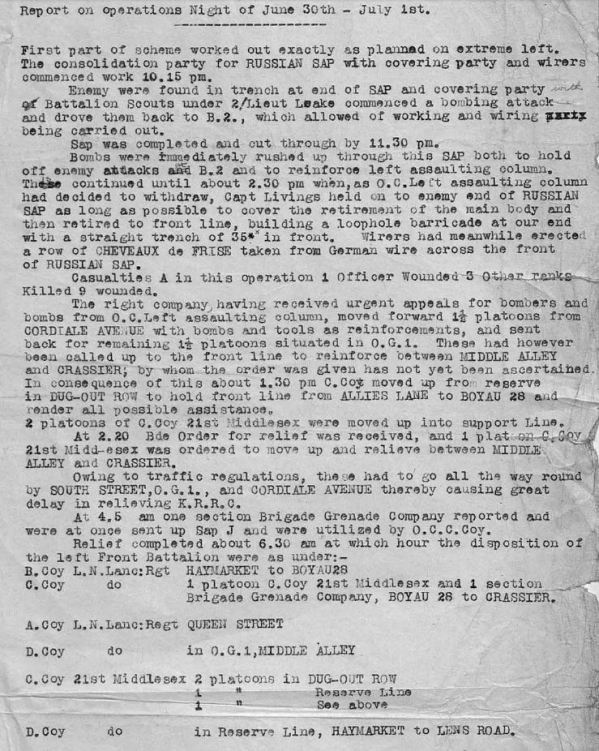 RUSSIAN SAP- 1ST JULY 1916