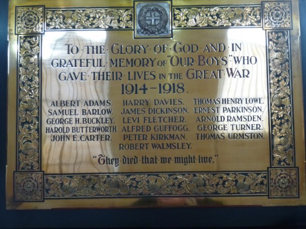 Brass Plaque at Trinity Wesleyan Chapel