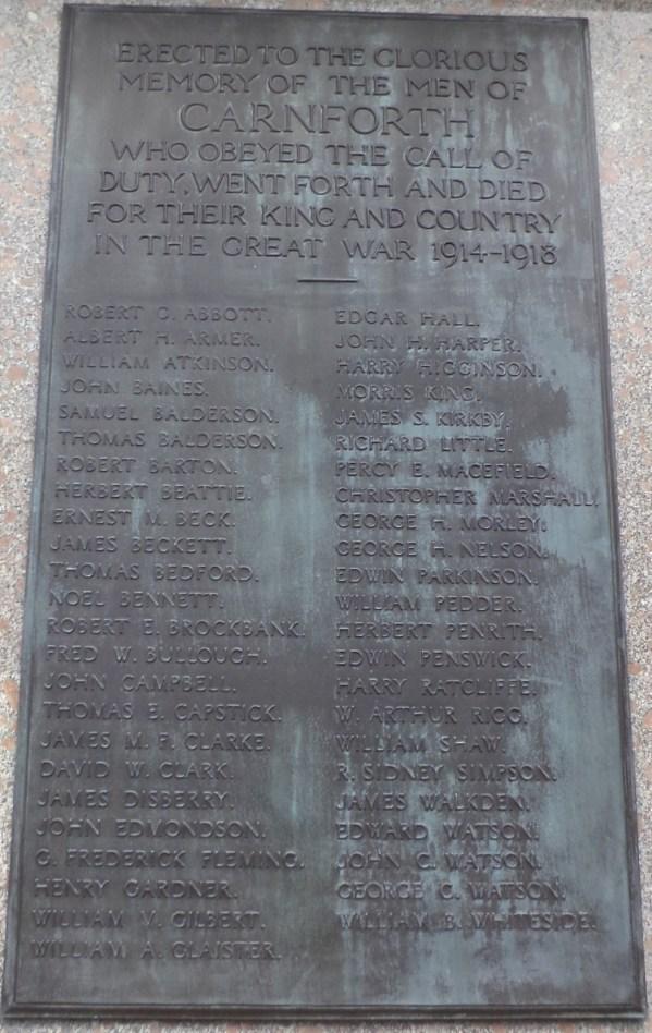 Carnforth War Memorial - panel