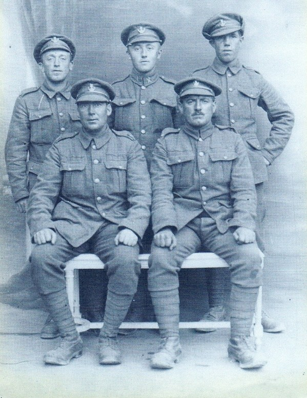Jack Atkinson also served in the Loyals – he is standing on the left in this photo, thought to have been taken on the Somme in 1916.