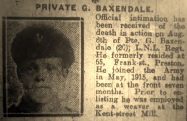 3914 Private George Baxendale