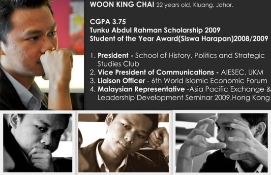 Dari temuramah LoyarBurok - kad menunjukkan prestasi King Chai sehingga semester ke-4.